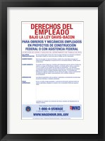 Employee Rights Under the Davis-Bacon Act Spanish Version 2012 Framed Print
