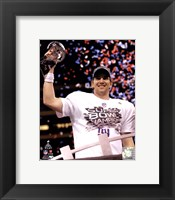 Framed Eli Manning with the Vince Lombardi Trophy Super Bowl XLVI