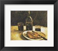 Framed Still Life with Bottle, Two Glasses, Cheese and Bread