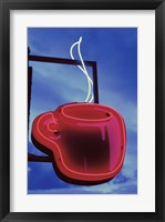 Framed Neon Coffee Cup Sign