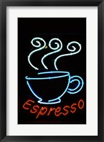 Framed Glowing Neon Sign of an Espresso Coffee Cup