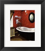 Framed Red Farmhouse Bath I