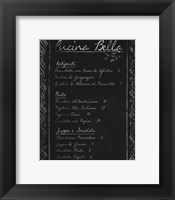 Framed Italian Menu I