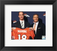 Framed Peyton Manning & John Elway 2012 Press Conference