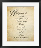 Framed Serenity Prayer - quote