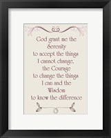 Framed Serenity Prayer quote