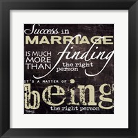 Success in Marriage Framed Print