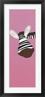 Zebra on Pink Framed Print