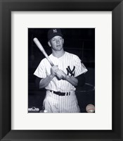 Framed Mickey Mantle Posed Black And White