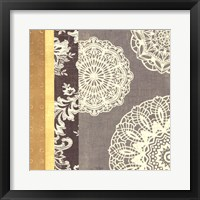 Framed Contemporary Lace I - Yellow Grey
