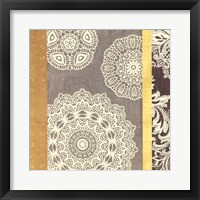 Framed Contemporary Lace II - Yellow Grey