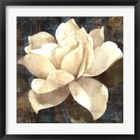 Framed Gardenia Blossom Turquoise