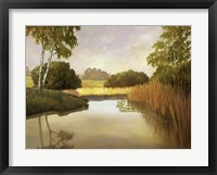 Framed Reeds, Birches & Water I