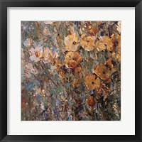 Framed Amber Poppy Field I