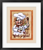 Will Work for Wine Framed Print