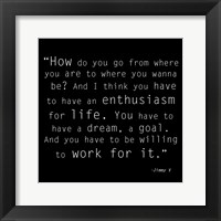 Enthusiasm for Life, Jimmy V Quote Framed Print