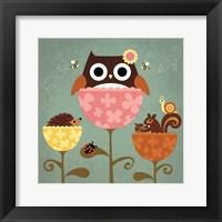 Framed Owl, Squirrel and Hedgehog in Flowers