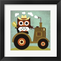 Owl on Tractor Framed Print