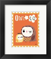 Animal Stamps - Owl Framed Print
