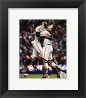 Framed Buster Posey & Sergio Romo Celebrate Winning Game 4 of the 2012 World Series