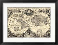 Framed Vintage World Map - Orbis Geographica