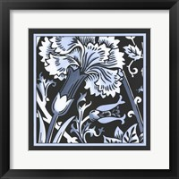 Framed Blue & White Floral Motif I