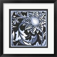 Framed Blue & White Floral Motif II