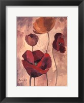 Framed Textured Poppies I