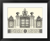 Framed B&W Grand Garden Gate IV