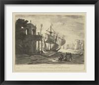 Framed Antique Harbor IV
