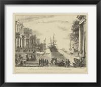Framed Antique Harbor VI
