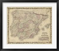 Framed Johnson's Map of Spain & Portugal