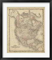 Framed Johnson's Map of North America