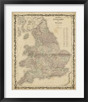Framed Johnson's Map of England & Wales