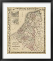 Framed Johnson's Map of Holland & Belgium