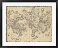 Framed Johnson's Map of the World