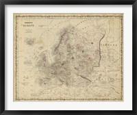 Framed Johnson's Map of Europe
