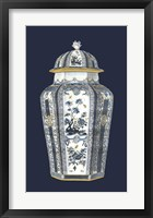 Framed Asian Urn in Blue & White I
