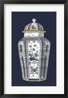 Framed Asian Urn in Blue & White I
