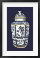 Framed Asian Urn in Blue & White II