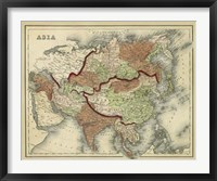Framed Antique Map of Asia