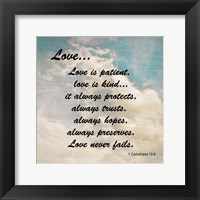 Love 1 Corinthians 13:4 Against the Sky Framed Print