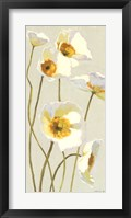 Framed White on White Poppies Panel I