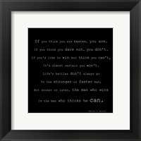 Framed If You Think You are Beaten Quote by Walter D. Wintle