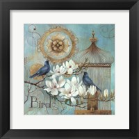 Framed Blue Birds and Magnolia