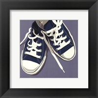 Lowtops (blue on gray) Framed Print