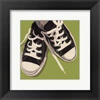 Lowtops (black on green) Framed Print