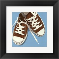 Lowtops (brown on blue) Framed Print