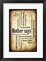 Framed Mother Says