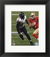 Framed Terrell Suggs Super Bowl XLVII Action